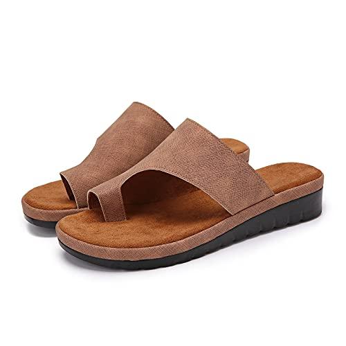 gracosy Damen Big Toe Hallux Valgus, Bunion Splints Damensandalen Sommersandalen Flach Plattform Sandalen Unterstützung Plattform Schuhe für die Behandlung Strandsandalen
