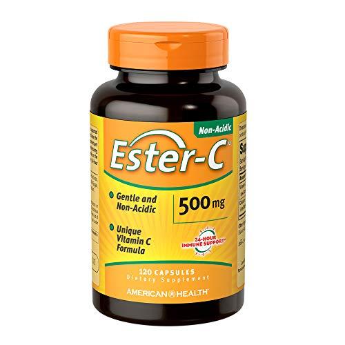 American Health Ester-C Capsules - Gentle On Stomach, Non-Acidic Vitamin C - Non-GMO, Gluten-Free - 500 mg, 120 Count, 60 Servings