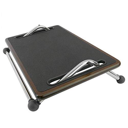 PrimeMatik - Poggiapiedi con Piattaforma di Legno Regolabile 480 x 310 mm