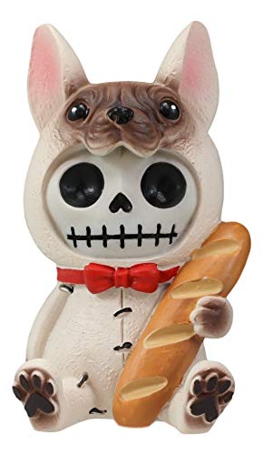 Ebros French Bulldog Furry Bones with Baguette Bread and Red Bow Tie Figurine 3' Tall Furrybones Skeleton Collectible Statue Puppy Dog Skull Themed Halloween Sculpture