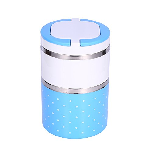2 Capas Fiambrera de Aislamiento, 900ml Fiambrera Termo termica con aislamiento de acero inoxidable Contenedor de alimentos caliente (Azul)