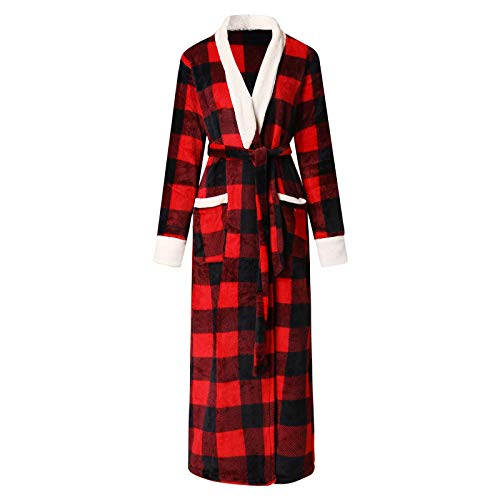 Okseas Damen Bademantel Fleece und Baumwolle Kariert Morgenmantel Damen Herren Flanell Kimono Flauschig Saunamantel
