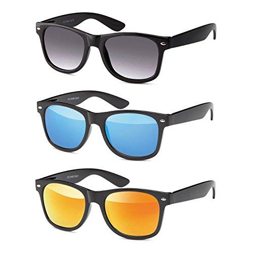 MOKIES Unisex Sonnenbrillen - UV400 Filterkategorie 3 CE Kennzeichnung - Polycarbonat - mit Federscharnier - A-SET Grau verlaufend, Blau, Rot