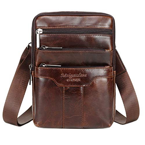 Hebetag Leather Shoulder Bag Messenger Pack for Men Women Travel Business Crossbody Pouch Phone Wallet Satchel Sling Chest Bags Casual Day Pack Coffee