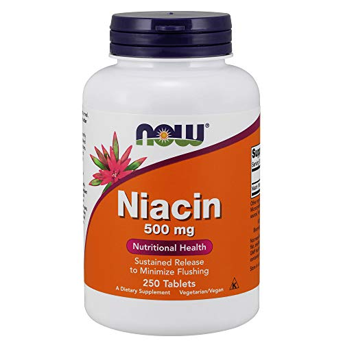 NOW Supplements, Niacin (Vitamin B-3) 500 mg, Sustained Release, Nutritional Health, 250 Tablets