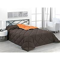 Sabanalia - Edredón nórdico de 400 g reversible (bicolor), para cama de 135/150 cm, color naranja y chocolate