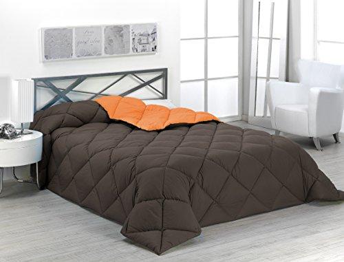 Sabanalia - Edredón nórdico de 400 g reversible (bicolor), para cama de 90/105 cm, color naranja y chocolate