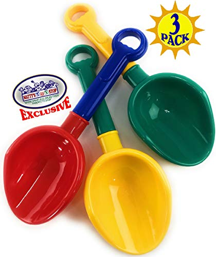 Matty#039s Toy Stop 105quot Kids MultiColor Sand Scoop Plastic Shovels for Sand amp Beach Red/Blue Yellow/Green amp Green/Yellow Complete Gift Set Bundle  3 Pack