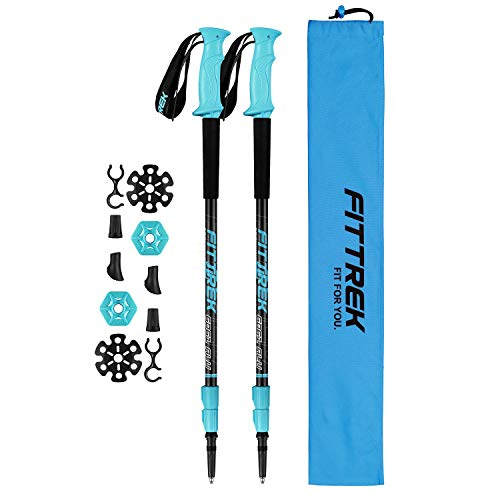 FitTrek Trekking Poles Carbon Fibre Walking Poles Hiking poles Telescopic Lightweight Nordic Walking Pole for Women Men and Kids with Walking Poles Rubber Tips and Pole Bag 2 Pair