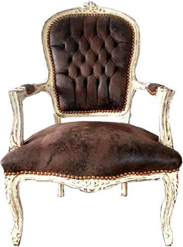 Casa Padrino sillón de salón Barroco Aspecto Cuero marrón/Crema Estilo Antiguo 60 x 50 x A. 93 cm - Silla de Estilo Antiguo Hecha a Mano con Cuero de imitación Fino - Muebles de Estilo Barroco