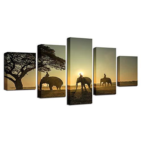 HQATPR 5D Schilderij Accessoires Original Olie-inkt Canvas olieverfschilderij Wandkunst Frame HD gedrukte afbeeldingen 5 Panel Posters Elephantse Groep Afbeelding WITH Frame 30 x 40 cm x 2,30 x 60 cm x 2,30 x 80 cm x 1.