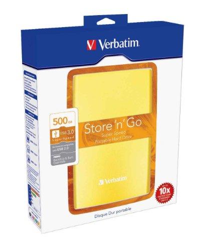 Verbatim Store 'N' Go - Hard Disk Esterno Portatile, USB 3.0, Giallo, 500 GB
