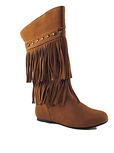 Yoki Trina 03K Little Girls Moccasin 2 Layer Fringe Boots,Rust,2
