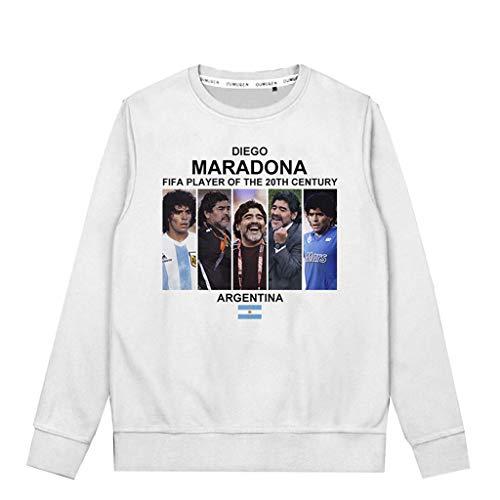 Diego Maradona Sudaderas con capucha estampada de terciopelo grueso cálido, camiseta de manga larga, suéter para hombre y mujer