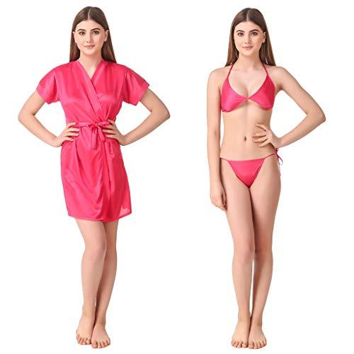 Romaisa Women's Satin Short Robe with Bra and Thong Set...