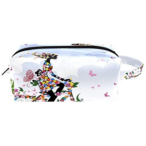 Spring Girl Rading A Bike Flower Butterfly Travel Toiletries Borse Cosmetici Borsa da Donna in Microfibra Pelle Trucco Pratico Organizzatore con Cerniera