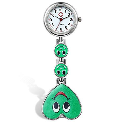 Lancardo Reloj de Bolsillo con Colgante de Corazón con Cara Sonriente Prendedor de Broche Uniforme con Risa Reloj Médico de Movimiento de Cuarzo para Doctor Enfermera Paramédico