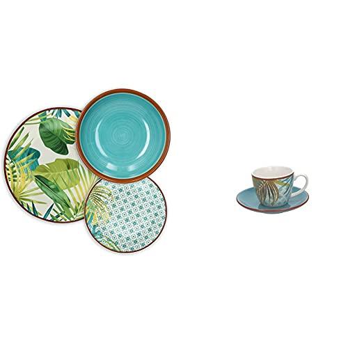 Tognana Jungle Servizio Tavola 18 Pezzi, Porcellana, Multicolor & Me685015528 Confezione 6 Tazze Caffè Con Piatto, New Bone China