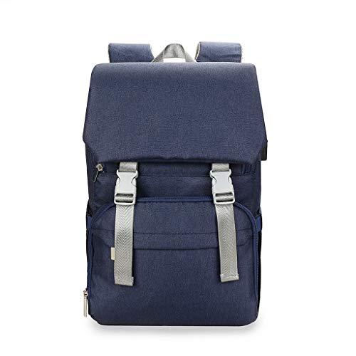 XINGYUE Bolsa de pañales para bebé con espalda trasera de gran capacidad, multifuncional, casual, viaje, con puerto de carga USB, correas para cochecito