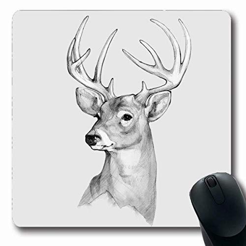 Mausepad Tattoo Bleistift Zeichnungslinie Hand Grafik Stil Hirsch Kopf Rack Vintage Design Wild Gezeichnet Rut Weiß Mousepad Längliche Schule Gummi 25X30Cm Rutschfeste Mausmatte B