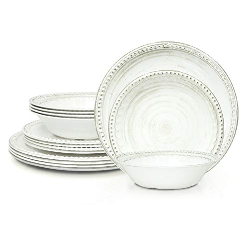 Zak Designs French Country House Melamine 12 Piece Dinnerware Set Includes Dinner, Salad Plates, and Individual Bowls (Lavage Oyster)