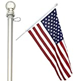 American Signature Heavy-Duty Aluminum Tangle Free Spinning 5 Foot Flag Pole with Metal Mounting Rings - Outdoor Wall Mount Flagpole for Residential Commercial (5' Silver)