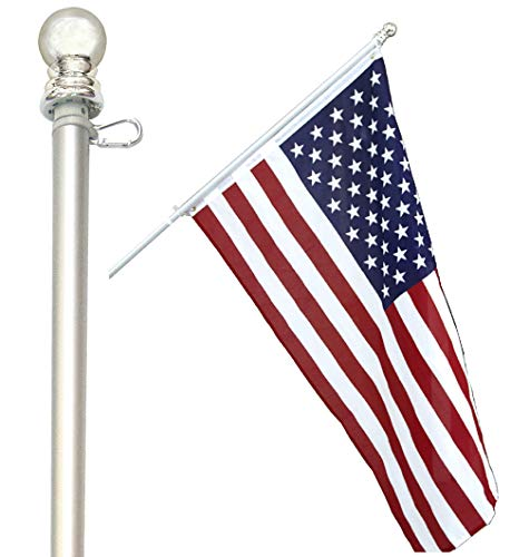 American Signature Flag Pole 5 Ft - Aluminum Spinning Tangle Free Flagpole for Sale - Outdoor Wall Mount Flag Pole for Residential or Commercial. (Silver, 5)