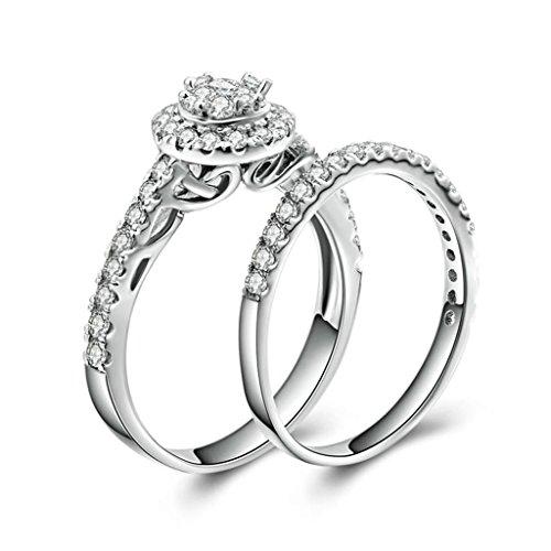 Daesar Silberring Damen Ring Silber Ehering für Damen Verlobungsring Benutzerdefinierte Ring Runde Strass Ring Doppel Ring Größe:56 (17.8)