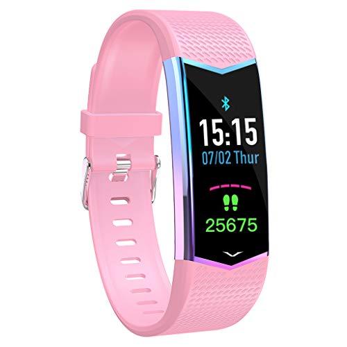 CAOQAO- Reloj Mujer Hombre Unisex Pulsera Inteligente Presión Arterial Monitor de Ritmo cardíaco Bluetooth Fitness Reloj Negro Cielo Azul Rosa (Free Size, Rosa)