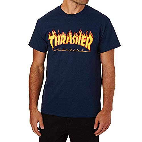 Thrasher Erwachsene T-Shirt Flame XXL Marineblau