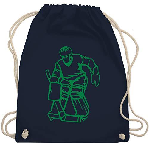 Shirtracer Eishockey - Eishockeyspieler grün - Unisize - Navy Blau - Mensch - WM110 - Turnbeutel und Stoffbeutel aus Baumwolle