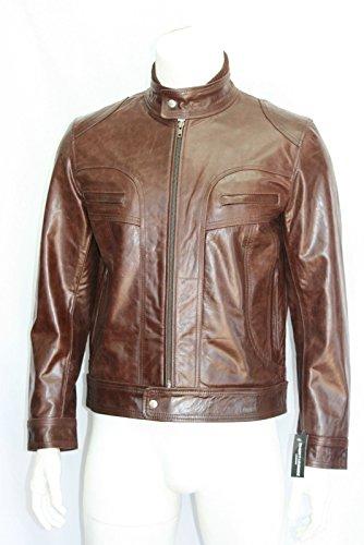 Marron glacé style motard court homme veste en cuir véritable (UK 3XL / EU 58)