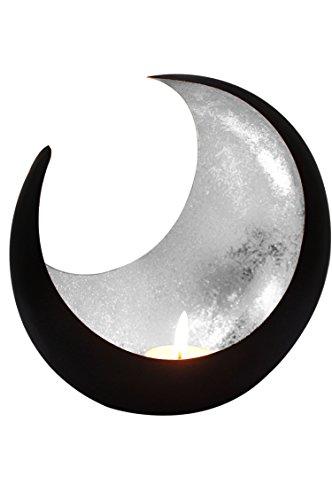 Marrakesch Orient & Mediterran Interior Lanterna portacandele Orientale in Metallo - Portacandele per Giardino - Moon Argento - trasmettere Una buona Atmosfera - Passare Un Buon Momento in Giardino