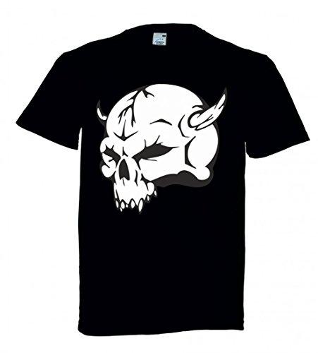 Camiseta con diseño de calavera con cuernos en el lateral, esqueleto rockero, club de moto, gótico, moto, calavera, evo, Old School, para hombre, mujer, niños, 104 – 5 XL Negro  Talla del hombre: 5X-Large