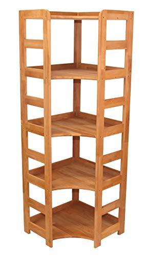 Echtholzprofi Praktisches Regal Beethoven, 168x56x56cm, hohes Eckregal, Echtholz Buche geölt, für Wohnzimmer, Büro oder Kinderzimmer