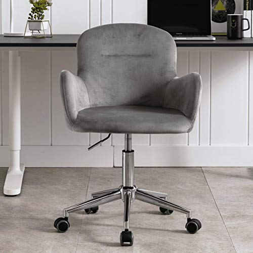 Velvet Accent Chair, Adjustable Swivel Armchair, Desk Chair, Makeup Chair with Casters, Grey
