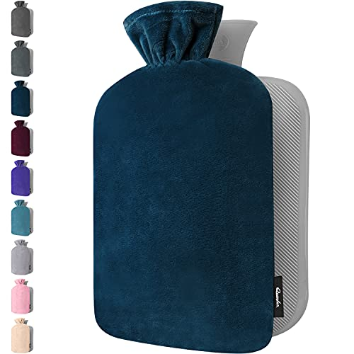 Wärmflasche mit Bezug – Weicher Premium Vliesbezug – 1,8l groß Wärmeflasche, Wärmflasche Kinder, Bettflasche für Erwachsene - Dunkelblau