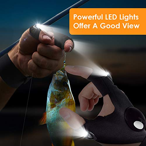LED Flashlight Gloves, Upgrade LED Light Gloves Gift for Men, Women, Mechanics & Electrician, Tactical Hands Free Gadgets for Fishing, Camping, Car Repair