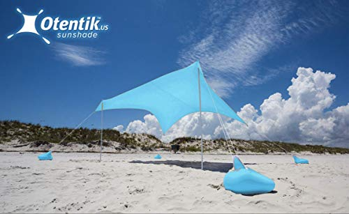 Otentik Beach Sunshade Sandbag Anchors - The Original Sunshade Since 2011 (Two-Tone, Orange-Grey, Large 8.5 x 9 ft 7 ft Tall - up to 7 People)