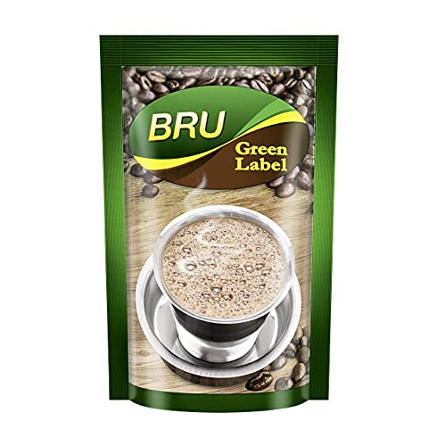 BRU Green Label Filter Coffee Powder 500 g Pouch, Lightly Roasted Ground Coffee Beans from South India - Rich & Strong Blend of...