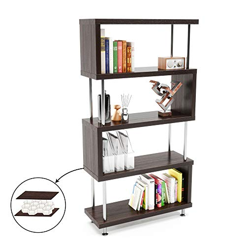 Bestier 5 Shelf Bookcase S-Shaped, Geometric Bookcase Wood Storage Corner Shelves, Z Shaped 5 Tier Vintage Industrial Etagere Bookshelf Stand for Home Office Living Room Decor Books Display (Brown)