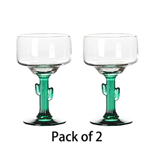 BQP 2PCS Glas Margarita Saguaro Kaktus grüner Rand 2er Set, glas, 470 ml, 2er-Set, 401-500ml