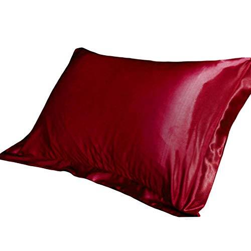 Funda para Almohada 1/2 Uds Funda De Almohada De Satén De Seda De Emulación Fundas De Almohada De Un Solo Color Sólido Funda De Almohada De Lujo para Tiro De Cama 48X74Cm-Vino Rojo_1 Pc_China