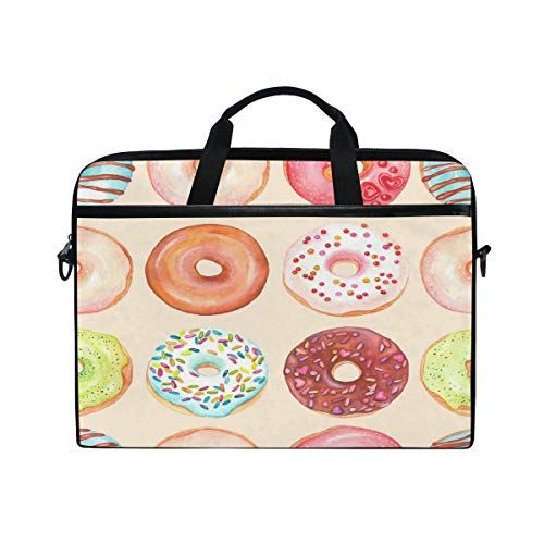 WowPrint Laptop Sleeve, Cute Donut Pattern Laptop Case Shoulder Strap with Handle Portable Notebook Computer Bag for 13 13.3 14 15 inch