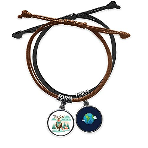 Bestchong Merry mas Tree Reindeer Illustration Bracelet Rope Hand Chain Leather Earth Wristband