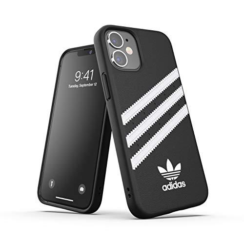 Adidas - Custodia protettiva per iPhone 12 Mini 5.4, con bordi rialzati, antiurto, in poliuretano, colore: Nero/Bianco