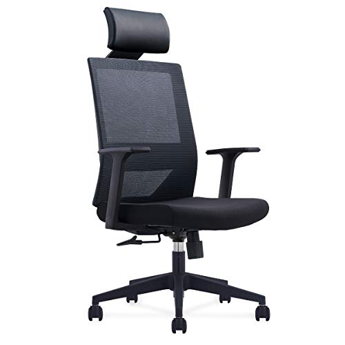 Homewit - Silla de oficina con reposacabezas ajustable, altura ajustable hasta 8 cm, giratoria 360°, ideal para oficina, hogar, empleados y estudiantes