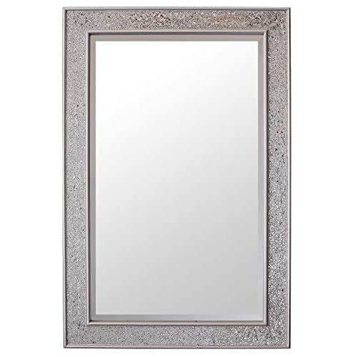 c745200d86d2 Glamour by Casa Chic Mosaic Silver Wall Mirror - Large - 90x60 Centimetres  2x3 feet -