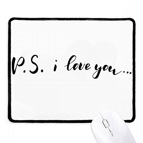 P.S. Ik hou van je citeren handschrift muismat zwart gestikt rand mat niet slip spel
