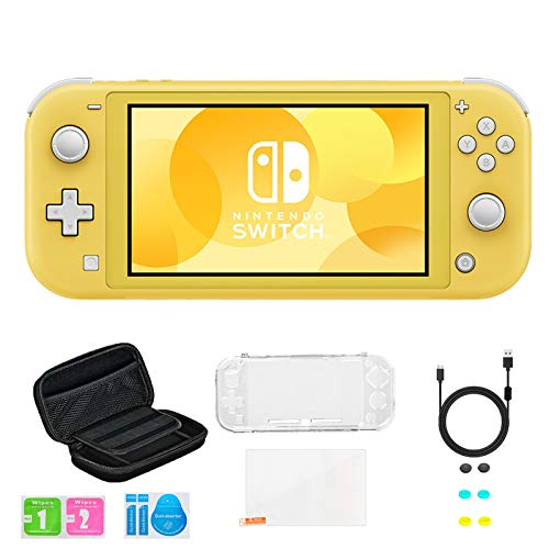 Newest Nintendo Switch Lite Game Console, Yellow, Bundled with 8-1 Accessories Include Portable Carry Bag & Cover Case & USB Charging Cable & 6 Thumb Grips & HD Tempered Glass Screen Protectors